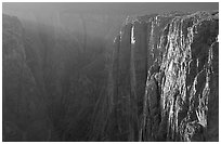 Narrows at sunset, North rim. Black Canyon of the Gunnison National Park, Colorado, USA. (black and white)