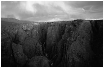 Narrows from Chasm view at sunset, North Rim. Black Canyon of the Gunnison National Park ( black and white)
