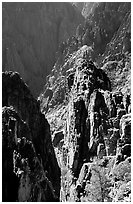 Pinnacles and spires, Island peaks view, North Rim. Black Canyon of the Gunnison National Park ( black and white)