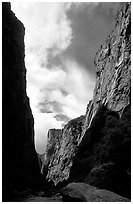 View of canyon walls from  Gunisson river. Black Canyon of the Gunnison National Park, Colorado, USA. (black and white)
