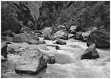 Boulders and rapids of  Gunisson River. Black Canyon of the Gunnison National Park ( black and white)