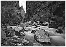 Gunisson river near  Narrows. Black Canyon of the Gunnison National Park ( black and white)