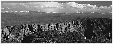 Plateau cut by deep canyon. Black Canyon of the Gunnison National Park (Panoramic black and white)