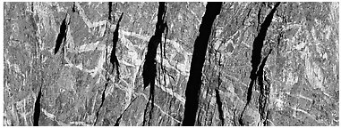 Crystalline marbled walls. Black Canyon of the Gunnison National Park (Panoramic black and white)