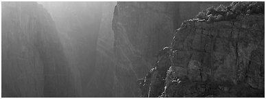 Chasm and light. Black Canyon of the Gunnison National Park (Panoramic black and white)
