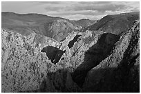 Canyon view from Tomichi Point. Black Canyon of the Gunnison National Park ( black and white)