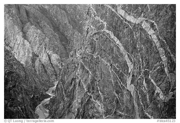 Sheer cliff with flourishes of crystalline pegmatite. Black Canyon of the Gunnison National Park, Colorado, USA.