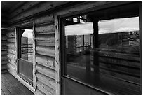 Visitor center windows. Black Canyon of the Gunnison National Park, Colorado, USA. (black and white)