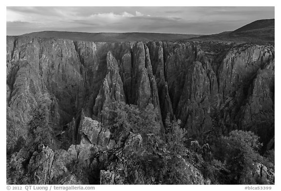 View from Gunnison point. Black Canyon of the Gunnison National Park (black and white)