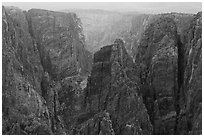Storm light over canyon. Black Canyon of the Gunnison National Park, Colorado, USA. (black and white)