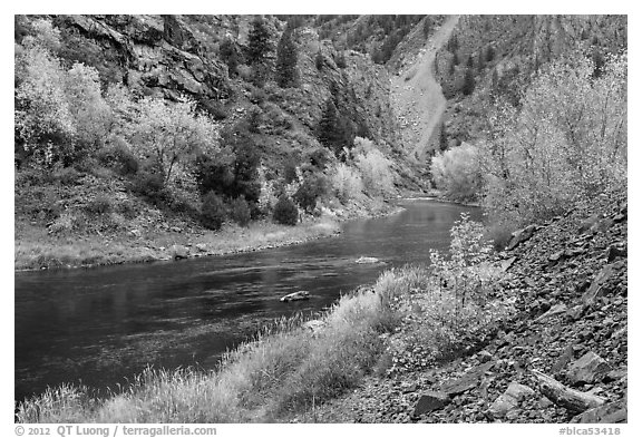 Gunnison river in fall, East Portal. Black Canyon of the Gunnison National Park (black and white)