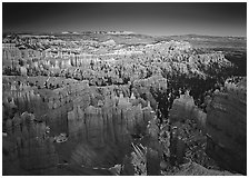 View of Bryce Amphitheater hoodoos from Sunset Point at dusk. Bryce Canyon National Park ( black and white)