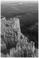 Rock formations and forest near Yovimpa Point. Bryce Canyon National Park ( black and white)