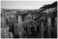 Hooodoos and canyon at dusk, Fairyland Point. Bryce Canyon National Park ( black and white)