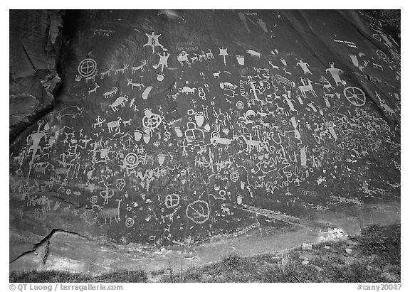 Slab called Newspaper Rock covered with petroglyphs. Utah, USA