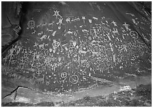 Slab called Newspaper Rock covered with petroglyphs. Utah, USA (black and white)