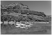 Rafts and cliffs, Colorado River. Canyonlands National Park, Utah, USA. (black and white)