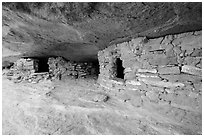 Granary ruins on Aztec Butte. Canyonlands National Park, Utah, USA. (black and white)