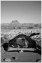 Camp overlooking the Maze. Canyonlands National Park, Utah, USA. (black and white)