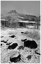 Castle Meadow and Castle, winter. Capitol Reef National Park ( black and white)