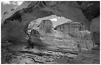 Hickman Bridge natural arch. Capitol Reef National Park, Utah, USA. (black and white)