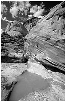 Pockets of water in Waterpocket Fold near Capitol Gorge. Capitol Reef National Park, Utah, USA. (black and white)