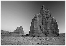 Temples of the Sun and Moon, dawn. Capitol Reef National Park, Utah, USA. (black and white)