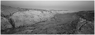 Waterpocket fold in pastel hues at dawn. Capitol Reef National Park (Panoramic black and white)