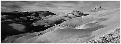 Bentonite hills landscape, Cathedral Valley. Capitol Reef National Park (Panoramic black and white)