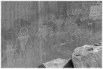 Fremont Petroglyphs of human figures. Capitol Reef National Park, Utah, USA. (black and white)