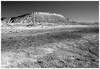 Colorful Bentonite flats and cliffs. Capitol Reef National Park, Utah, USA. (black and white)