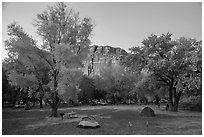 Fruita Campground at dusk. Capitol Reef National Park, Utah, USA. (black and white)