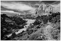 Trail and Navajo Dome. Capitol Reef National Park, Utah, USA. (black and white)