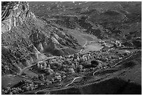 Fruita campground from above in autumn. Capitol Reef National Park ( black and white)