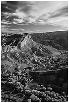 Waterpocket Fold  and orchards in the fall from Rim Overlook. Capitol Reef National Park, Utah, USA. (black and white)