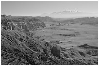 Upper Desert overlook, Cathedral Valley, mid-day. Capitol Reef National Park ( black and white)