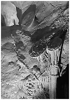 Rare parachute underground formations, Lehman Caves. Great Basin National Park, Nevada, USA. (black and white)