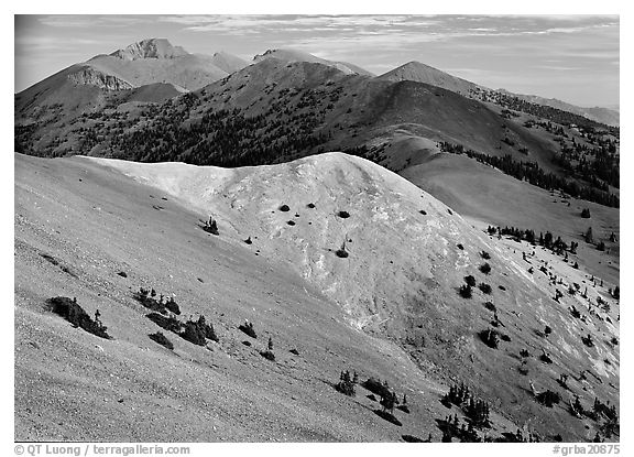 Wheeler Peak and Snake range seen from Mt Washington, morning. Great Basin National Park (black and white)