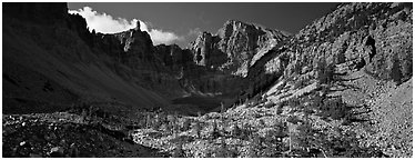 Rocky cirque and Wheeler Peak. Great Basin National Park (Panoramic black and white)