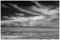 Snake Range seen from the East above a pond. Great Basin National Park, Nevada, USA. (black and white)