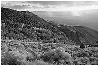 Sage covered slopes and Spring Valley. Great Basin National Park ( black and white)