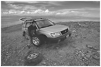 Flat tire on Mt Washington. Great Basin National Park, Nevada, USA. (black and white)