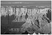 Desert View, sunset. Grand Canyon National Park, Arizona, USA. (black and white)
