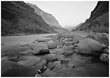 The Colorado River at Tapeats Creek,  dawn. Grand Canyon  National Park ( black and white)