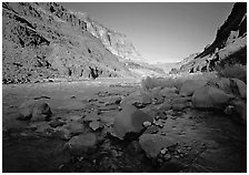 Bottom of Grand Canyon with Tapeats Creek joining the Colorado River. Grand Canyon  National Park ( black and white)