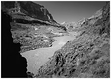 Colorado River and rock walls near Tapeats Creek. Grand Canyon  National Park ( black and white)