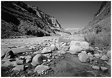 Confluence of Tapeats Creek and the Colorado River. Grand Canyon  National Park ( black and white)