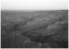 Ridges at dawn from Hopi Point. Grand Canyon  National Park ( black and white)