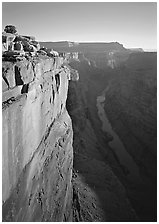 Cliff and Colorado River from Toroweap, sunrise. Grand Canyon  National Park ( black and white)