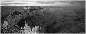 Wotan's Throne at sunrise. Grand Canyon National Park (Panoramic black and white)